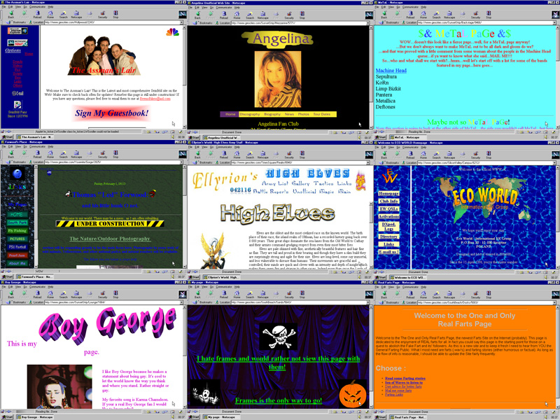 GeoCities screenshots captured from Olia Lialina and Dragan Espenschied's Tumblr 'One Terabyte of Kilobyte Age'.