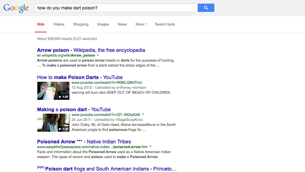 How do you make dart poison? Google results