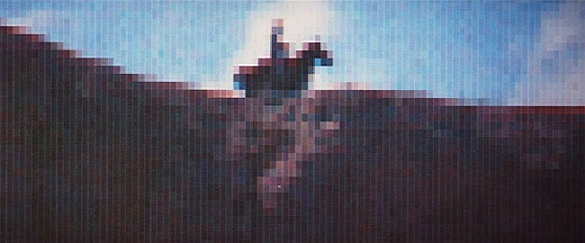 The first use of CGI in a Hollywood movie: frame from Westworld, 1973, written and directed by Michael Crichton. The robot sharpshooter played by Yul Brynner sees his quarry as a pixellated outline. Effects by John Whitney Jr